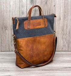 """Canvas and leather bag """"My Bag"""""""