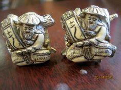 Carved Faux Bone Japanese Monk / Scroll  Vintage Clip On Earrings   #clipon