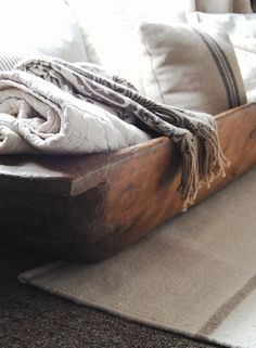 *want to use grain sacks & neutral linens. also wanting to incorporate my wooden bowls