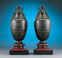 Egyptian Revival Canopic Urns by Georges Servant, Circa 1880. M.S. Rau Antiques, New Orleans.