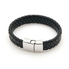 Pure leather cuff bracelet with Stainless Steel and Black Leather Men s Woven Bracelet. Small pinpoint to release and lock the black leather bracelet.