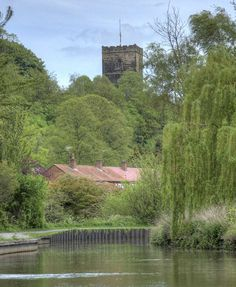 On the canal near Dodderhill Church in Droitwich Spa,Worcestershire