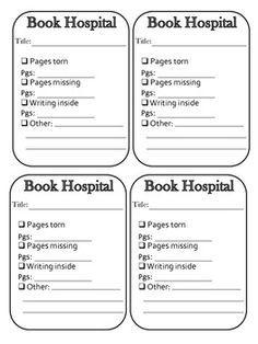 Book Hospital Admittance Slips - New School Library Lessons, Library Lesson Plans, Middle School Libraries, Elementary School Library, Library Skills, Class Library, Library Science, Library Activities, Library Books
