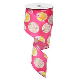 2.5 Hot Pink Easter Egg Ribbon Q712740-28 Fuchsia Satin