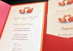 "Swan Wedding Invitation Pocketfold Set - Rustic Wedding Invitation ""Swan Love"" Red Orange Wedding - Autumn Accommodation RSVP Reception Card by PaintTheDayDesigns on Etsy"
