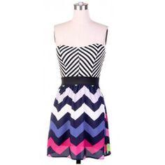 Colorful Chevron Dress $29.99