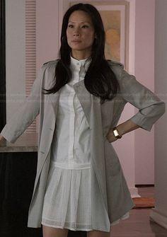 Joan's white drop waist dress on Elementary.  Outfit Details: http://wornontv.net/22631/ #Elementary