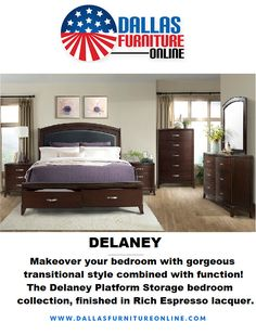 Style meets function with Element's Delaney Platform Storage bedroom collection at Dallas Furniture Online! Not only does the Queen Platform bed include storage drawers, but the nightstand features a hidden power outlet and USB outlets. Also included in the price are a dresser with a mirror. If you need extra pieces or an upgrade to a King, additional fees apply. For more details, just click on the image above or call/text 972-698-0805! #furniture #decorating #DFW #Dallas #FortWorth Nightstand, Dresser, Queen Platform Bed, Furniture Online, Bedroom Storage, Storage Drawers, Outlets, Dallas, Usb