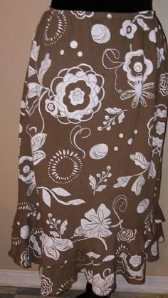 Fresh Produce Womens Large Floral Knee-length Brown & White Trumpet Skirt | Clothing, Shoes & Accessories, Women's Clothing, Skirts | eBay!