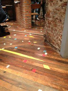 Interior design, decoration, loft, furniture, Floor-boards in Brew Lab, Edinburgh; old gym floor