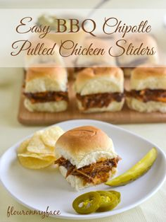 Easy BBQ Chipotle Pulled Chicken Sliders | Flour on My Face