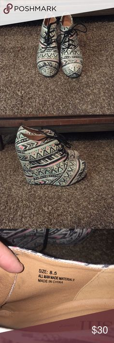 Wedge Booties. Off white Wedge Booties with black, turquoise and pink design. Never worn. Shoes Wedges