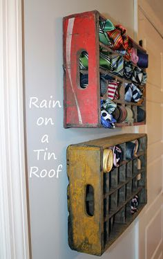 old soda crates for tie storage