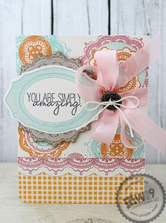 Jean Martin for Wplus9 featuring Lacey Layers stamps and dies, Chantilly Trim stamps and Very Vintage Florals stamps.
