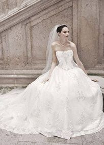 Oleg Cassini Wedding Dresses at Davids Bridal - orgazna ball gown with lace appliques Style CWG406