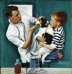 Norman Rockwell (American painter and illustrator) 1894 - 1978 The Veterinarian, 1961 Norman Rockwell Prints, Norman Rockwell Paintings, Munier, Chef D Oeuvre, The Saturdays, Famous Artists, Caricatures, Gil Elvgren, Mail Art