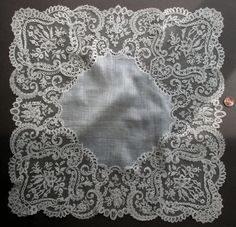 19th C. Large Antique Brussels Bobbin Lace  Handkerchief   Collectors  Wedding