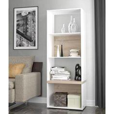 BIANKO Étagère style contemporain blanc et décor chêne - L 60 cm - Achat / Vente meuble étagère BIANKO Étagère meuble L 60 cm - Cdiscount