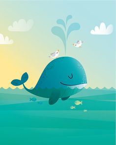 Nursery art print of a whale swimming in the ocean. A cute print for any nursery. Thanks for looking at my shop, I have lots more animals so please take a look around. For another whale image click the link below: www.etsy.com/ie/listing/181945775 All my prints are original