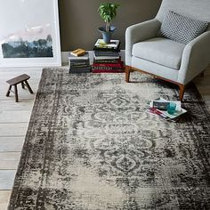 Distressed Arabesque Wool Rug - Steel #westelm - on sale now and another option to the potterybarn rug...