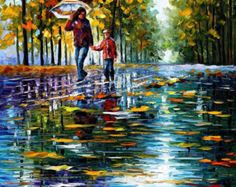 oil painting wall art Alley By The Lake by AfremovArtStudio