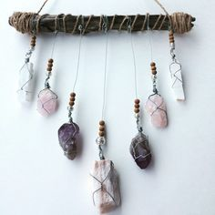 Crystal Mobile: Gypsum, Rose Quartz, Amethyst, Selenite, Sandalwood. -- This crystal mobile is perfect for your bedroom, transforming it into your peaceful, dreamy, sacred sleeping space. #Boho #HomeDecor #Bohemian #Crystals