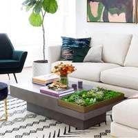 Coffee Table Plants, Concrete Coffee Table, Coffee Table Grey, Coffee Table Furniture, Accent Furniture, Living Room Furniture, Living Room Decor, Beautiful Living Rooms, High Fashion Home