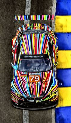 Vivid striped colors of BMW Motorsport Art Car E92 M3 GTR Le Mans. Wow. Just wow. Doesn't fit this Pinterest board as a music instrument, but that instrument panel would sure bring my little heart some joy..... #DdO:) MOST POPULAR RE-PINS - http://www.pinterest.com/DianaDeeOsborne/instruments-for-joy - RAINBOW RACING STRIPES great photo for lovers of NASCAR and stock car races like the #Indy500, #Daytona500, #Talladega, #LeMans. #RaceCars https://www.pinterest.com/pin/384987468117700807/