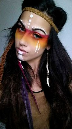 Halloween-Make-up-Aztec Princess halloween makeup costume Burning Man Makeup, Make Carnaval, Tribal Makeup, Halloween Karneval, Fantasy Make Up, Indian Costumes, Maquillaje Halloween, Male Makeup, Warrior Makeup