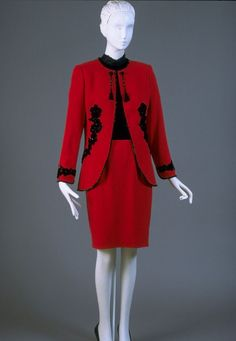 Woman's dinner suit: jacket, skirt and blouse | Designer: Emanuel Ungaro | France, Fall-Winter 1994 | Red wool crepe with black beading; black silk velvet and lace | Philadelphia Museum of Art