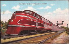 Rock Island Railroad Vintage Postcard - Peoria-Chicago Streamlined Rocket....road this back & forth to Chicago when I was little.
