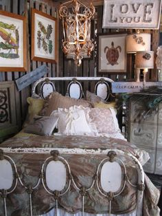 Very unique Art Panel bed from mid-1800's #ironbeds #antiqueironbeds