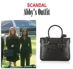 "On the blog: Abby's (Darby Stanchfield) black tote handbag | Scandal 401 - ""Randy, Red, Superfreak and Julia"" #SeasonPremiere #Gladiators #Fashion #Accessories"