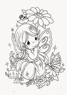 Cute Adult Coloring Books Elegant Fairy Coloring Pages Fairy Coloring Pages, Printable Coloring Pages, Coloring For Kids, Coloring Pages For Kids, Coloring Books, Coloring Sheets, Precious Moments Coloring Pages, Baby Fairy, Digital Stamps