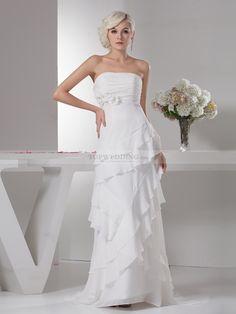 Asymmetrically Ruffle Tiered Strapless Chiffon Wedding Dress