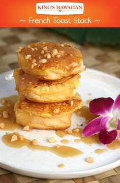 A #HawaiianFoodsWeek French toast is not something we can pass up. It's made with the sweetest ingredients – KING'S HAWAIIAN dinner rolls, Dole pineapple slices and chopped Mauna Loa Dry Roasted Macadamia Nuts.