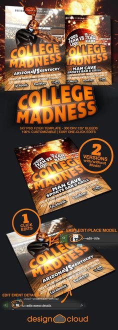 College Madness Basketball Flyer Template by Joe Krow, via Behance