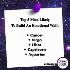 Top 5 Most Likely To Build An Emotional Wall Capricorn Quotes, Zodiac Signs Capricorn, Cancer Quotes, Zodiac Traits, Capricorn And Aquarius, Horoscope Signs, Astrology Signs, Horoscopes, Zodiac Meanings