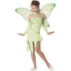 Poly/Spandex dress with sequin trim Matching colorful fairy wings Glovelettes Choker Fairy pouch SKU: Trendy Halloween, Halloween Costumes For Teens, Halloween 2014, Adult Halloween, Cool Costumes, Halloween Ideas, Costume Ideas, Tinker Bell Costume, Tinkerbell Fairies