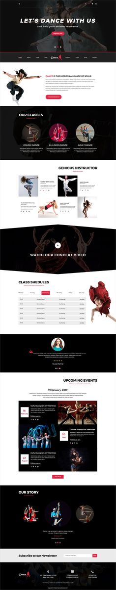 Dance is an awesome design #PSD template for professional #dance #academy or dance studios website download now➩  https://themeforest.net/item/dance-psd-template/19475442?ref=Datasata