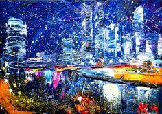 "Saatchi Art Artist: Anastasia Kachina; Acrylic 2014 Painting ""night city"""