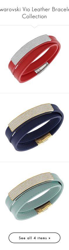 """""""Swarovski Vio Leather Bracelet Collection"""" by swarovski ❤ liked on Polyvore featuring swarovski, summer2015, jewelry, bracelets, bracelets & bangles, pave jewelry, red bangles, red jewelry, swarovski bangle and leather jewelry"""