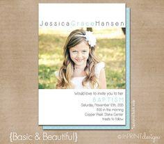 "LDS Baptism Photo Invitation (Digital or Printed)- ""Basic & Beautiful"""