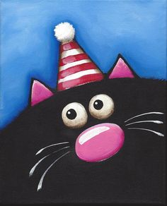 Original acrylic canvas painting whimsical black fat cat art party red hat (2) #Modernism