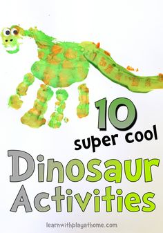 We're getting excited about Disney Pixar's new film The Good Dinosaur, in cinemas Boxing Day. Here are 10 awesome dinosaur activities to get us in the mood! Cool Dinosaurs, Dinosaurs Preschool, Preschool Crafts, Dinosaur Art, The Good Dinosaur, Dinosaur Projects, Dinosaur Crafts Kids, Toddler Activities, Learning Activities