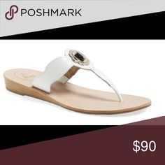 NEW JACK ROGERS LILAH CROC SANDAL WHITE - 7.5M NEW Jack Rogers LILAH Sandal – WHITE - 7.5M. Lilah thong sandal featuring a stacked mini wedge and a light gold non-functional turncock ornament.The croc style leather turnkey lock sandal w gold detail takes the traditional Jack Rogers up a notch as these ready to wear sandals go w any chic dress or skirt & can transition from day to night in the blink of an eye. Do not miss out on these fabulous sandals Brand new, no box.  RETAIL: $148 / M…