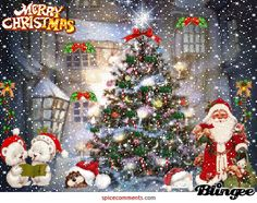 Merry Xmas from Santa and Friends Merry Christmas Wishes, Christmas Tree With Gifts, Merry Xmas, Magical Christmas, Christmas Greetings, Winter Christmas, Christmas Time, Vintage Christmas, Merry Christmas Images Free