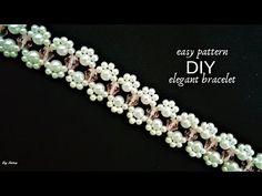 Easy beaded bracelet pattern for beginners. Seed Bead Bracelets, Seed Bead Jewelry, Bead Jewellery, Diamond Bracelets, Beads And Wire, Metal Beads, Beaded Bracelet Patterns, Embroidery Bracelets, Bracelet Tutorial