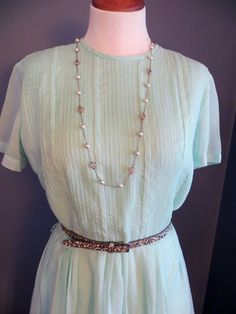 20% OFF Seafoam Green Knee Length Hand-made Sun Dress- Vintage