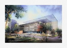 Architectural rendering - Eye level, aerial and interior watercolor renderings. Vladislav Yeliseyev specializes in high quality watercolor illustrations. Architecture Artists, Architecture Panel, Commercial Architecture, Commercial Interior Design, Landscape Architecture, Architecture Sketches, Watercolor Landscape, Watercolor Art, Drawing Sketches